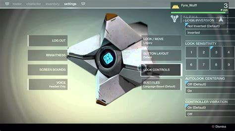 Destiny Settings and Control Schemes (First Look Alpha